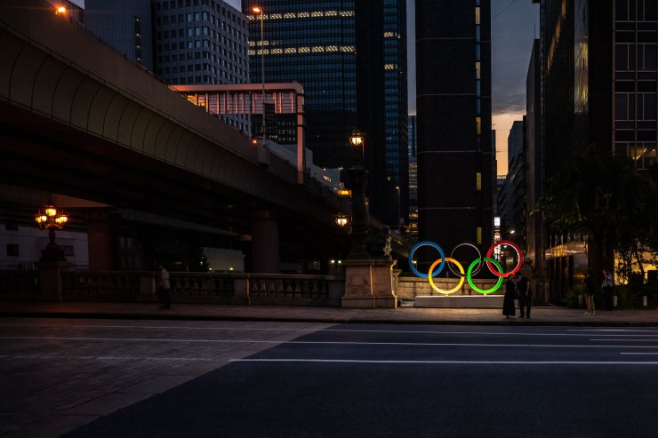 The Olympic Rings are displayed in Tokyo's Nihonbashi district on July 10. AFP