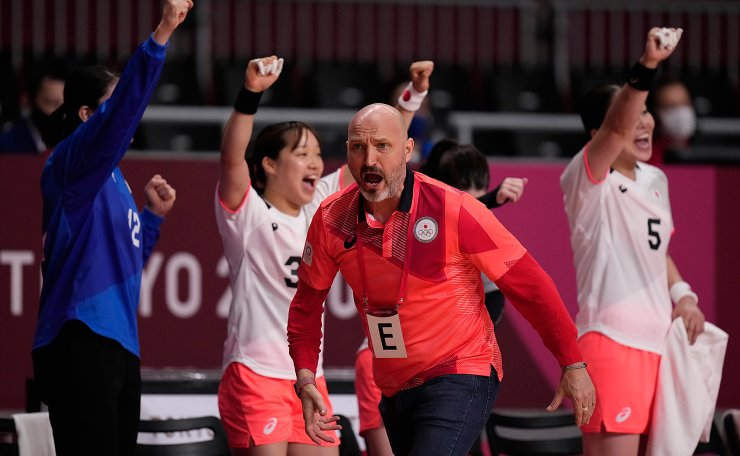Japan's head coach Ulrik Kirkely reacts during the women's Preliminary Round Group A handball match between Japan and Montenegro at the 2020 Summer Olympics, Tuesday, July 27, 2021, in Tokyo, Japan. AP