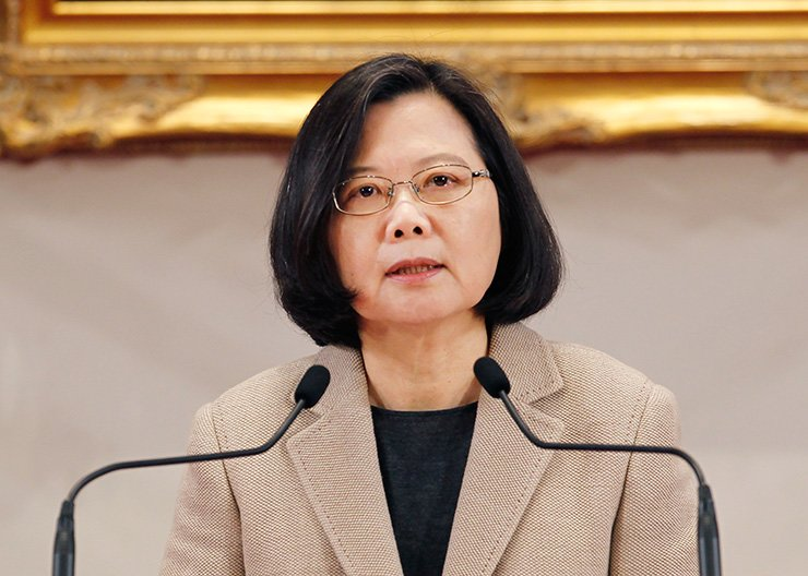 Taiwanese President Tsai Ing-wen delivers a speech during the New Year press conference in Taipei, Taiwan, Jan. 1. Taiwan's leader said the people of the island want to maintain self-rule despite recent electoral gains by the Beijing-friendly opposition party. Taiwanese officials should not enter into any secret dialogue with China, President Tsai warned in a New Year's speech. AP