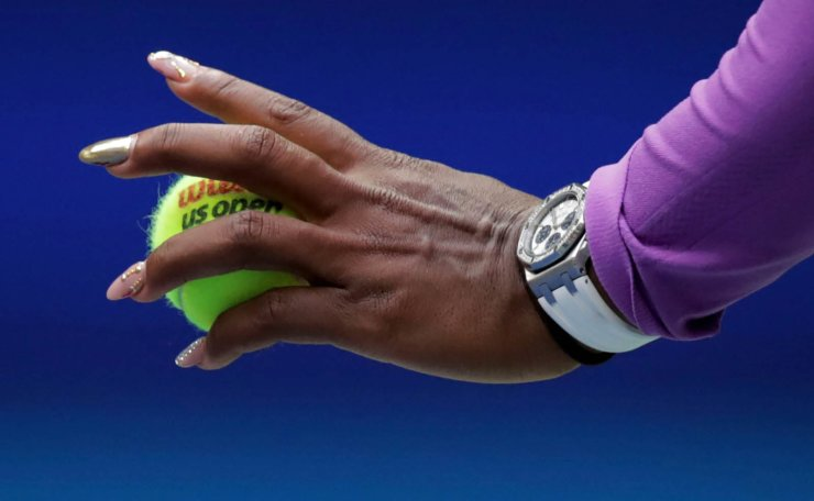 Serena Williams, of the United States, serves to Bianca Andreescu, of Canada, during the women's singles final of the U.S. Open tennis championships Saturday, Sept. 7, 2019, in New York. AP