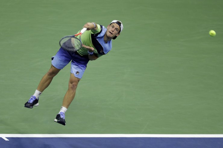 Diego Schwartzman, of Argentina, serves to Rafael Nadal, of Spain, during the quarterfinals of the U.S. Open tennis tournament Wednesday, Sept. 4, 2019, in New York. AP