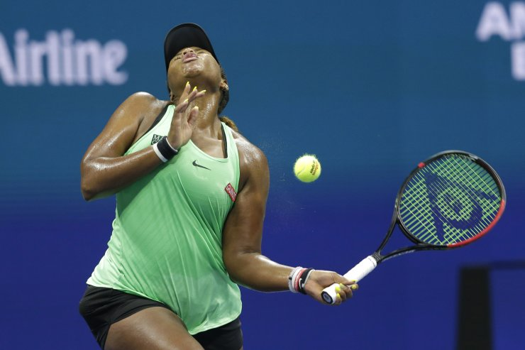Taylor Townsend, of the United States, reacts after being hit by the ball while playing against Bianca Andreescu, of Canada, during the fourth round of the U.S. Open tennis tournament, Monday, Sept. 2, 2019, in New York. AP
