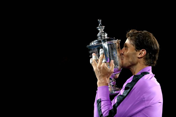 Rafael Nadal of Spain celebrates with the championship trophy during the trophy presentation ceremony after winning his Men's Singles final match against Daniil Medvedev of Russia on day fourteen of the 2019 US Open at the USTA Billie Jean King National Tennis Center on Sunday, Sept.8, 2019 in New York City. AFP