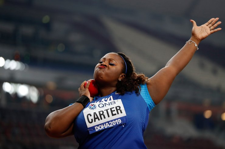 Michelle Carter of the United States competes during the Women's Shot Put Final at the 2019 IAAF World Athletics Championships in Doha, Qatar, Oct. 3, 2019. Xinhua