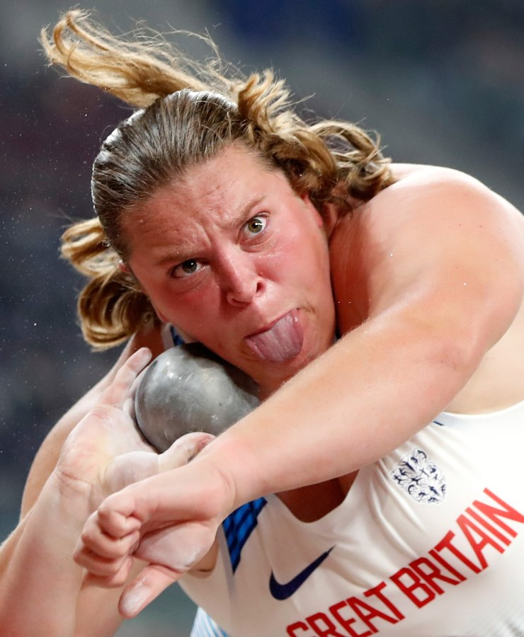 Sophie McKinna of Britain competes during the Women's Shot Put Final at the 2019 IAAF World Athletics Championships in Doha, Qatar, Oct. 3, 2019. Xinhua