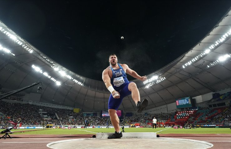 Joe Kovacs, of the United States, competes in the men's shot put final to win the championship record for gold at the World Athletics Championships in Doha, Qatar, Saturday, Oct. 5, 2019. AP