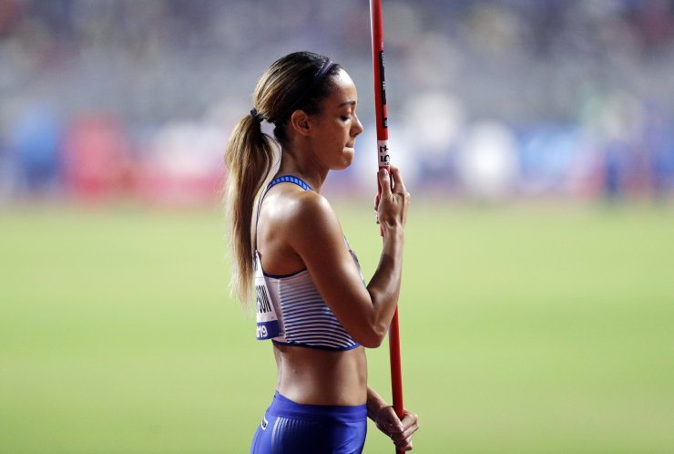 Katarina Johnson-Thompson, of Great Britain, competes in the women heptathlon javelin throw at the World Athletics Championships in Doha, Qatar, Thursday, Oct. 3, 2019. AP