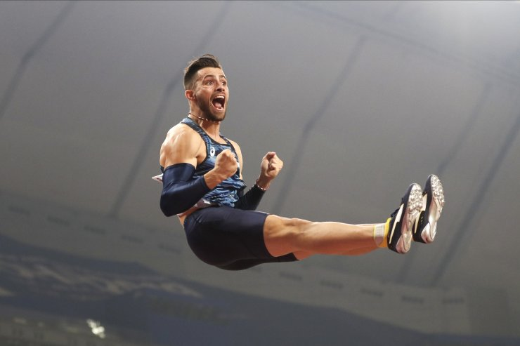 Valentin Lavillenie, of France, completes a jump in the men's pole vault final at the World Athletics Championships in Doha, Qatar, Tuesday, Oct. 1, 2019. AP