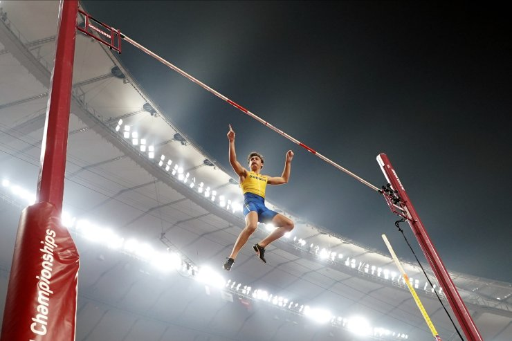 Armand Duplantis, of Sweden, competes in the men's pole vault final at the World Athletics Championships in Doha, Qatar, Tuesday, Oct. 1, 2019. AP