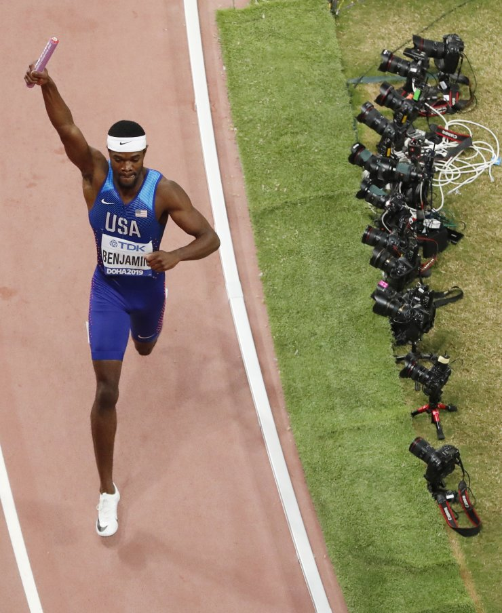 Athletics - World Athletics Championships - Doha 2019 - Men's 4x400 Metres Relay Final - Khalifa International Stadium, Doha, Qatar - October 6, 2019 Rai Benjamin of the U.S. celebrates winning gold REUTERS