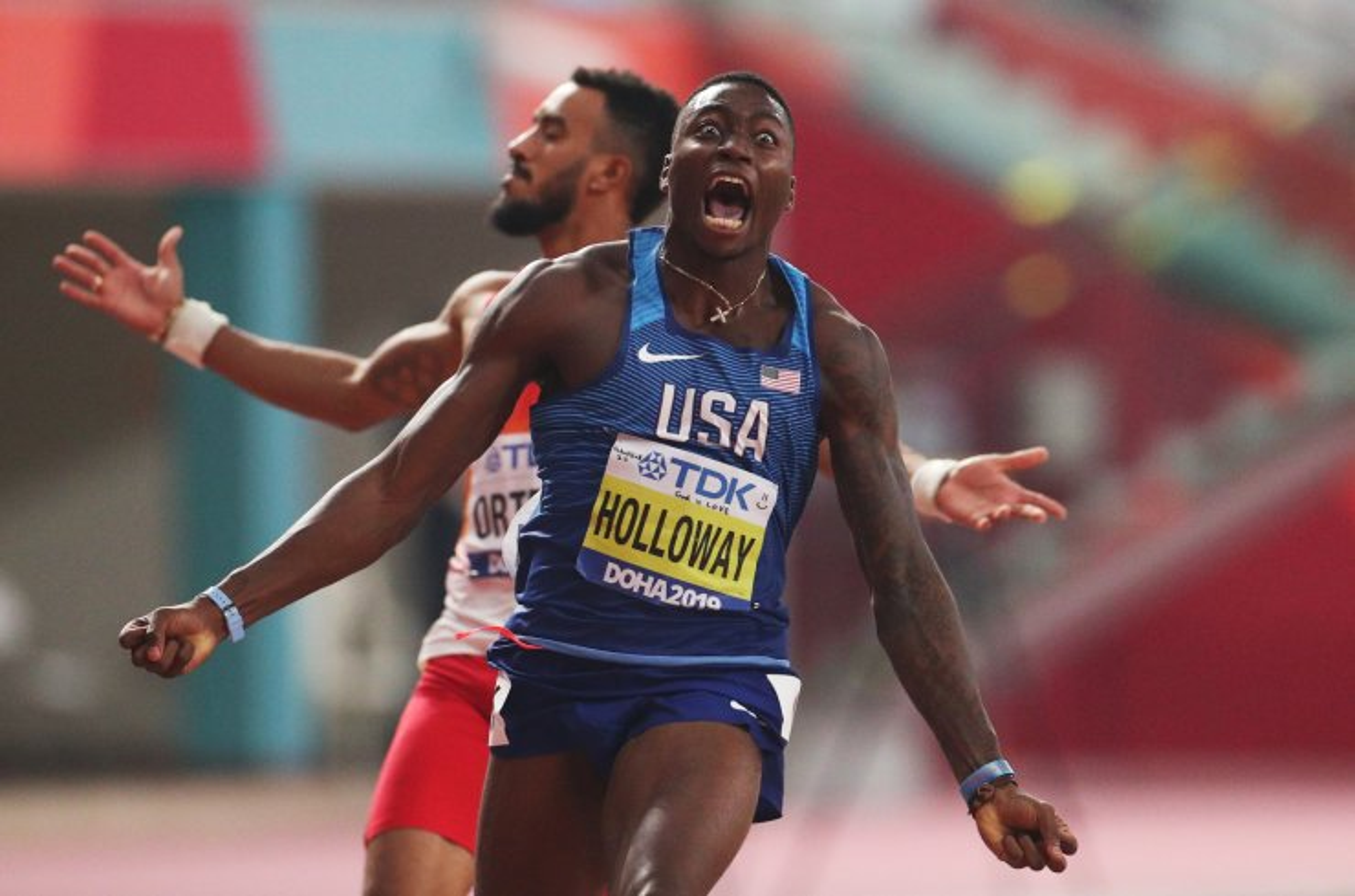 Athletics - World Athletics Championships - Doha 2019 - Men's 110 Metres Hurdles Final - Khalifa International Stadium, Doha, Qatar - October 2, 2019  Grant Holloway of the U.S. reacts after winning gold REUTERS