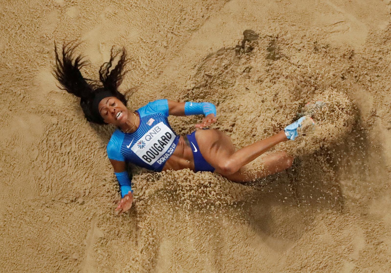 Athletics - World Athletics Championships - Doha 2019 - Women's Heptathlon Long Jump - Khalifa International Stadium, Doha, Qatar - October 3, 2019  Erica Bougard of the U.S. in action REUTERS