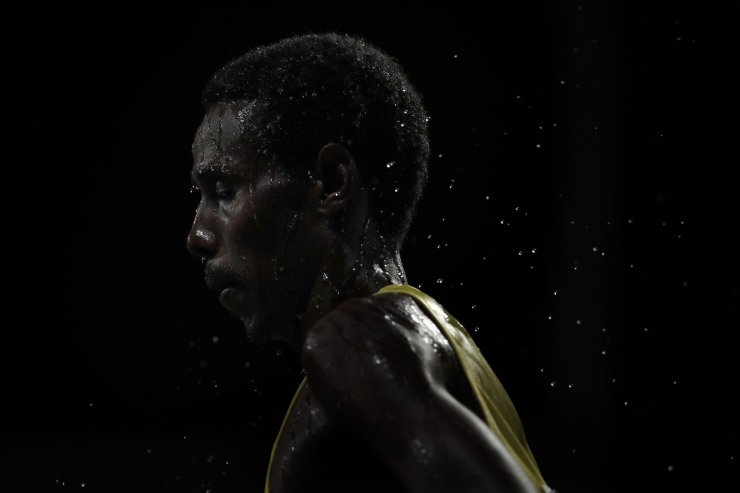 Augustino Paulo Sulle, of Tanzania, competes during the men's marathon at the World Athletics Championships in Doha, Qatar, Sunday, Oct. 6, 2019. AP