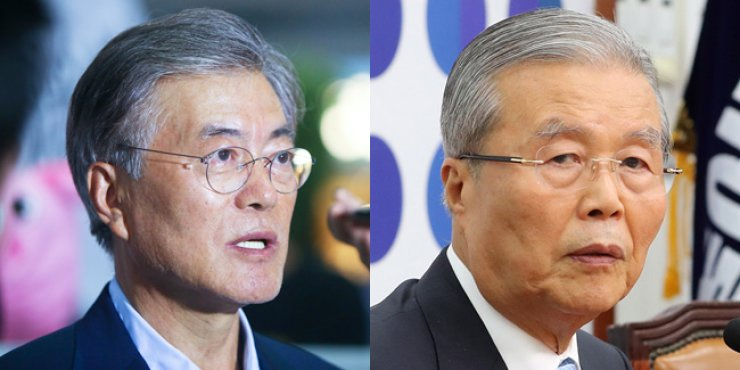 Moon Jae-in, left, and Kim Chong-in