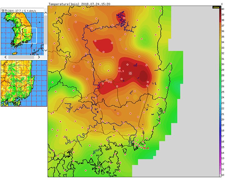 A temperature map of Yeongcheon and surrounding areas. The red dot at the center of the dark red area is Yeongcheon, where the temperature reached 40.3C at 3:27 p.m., Tuesday, the hottest temperature on the Korean Peninsula since 1907. / Captured from KMA website