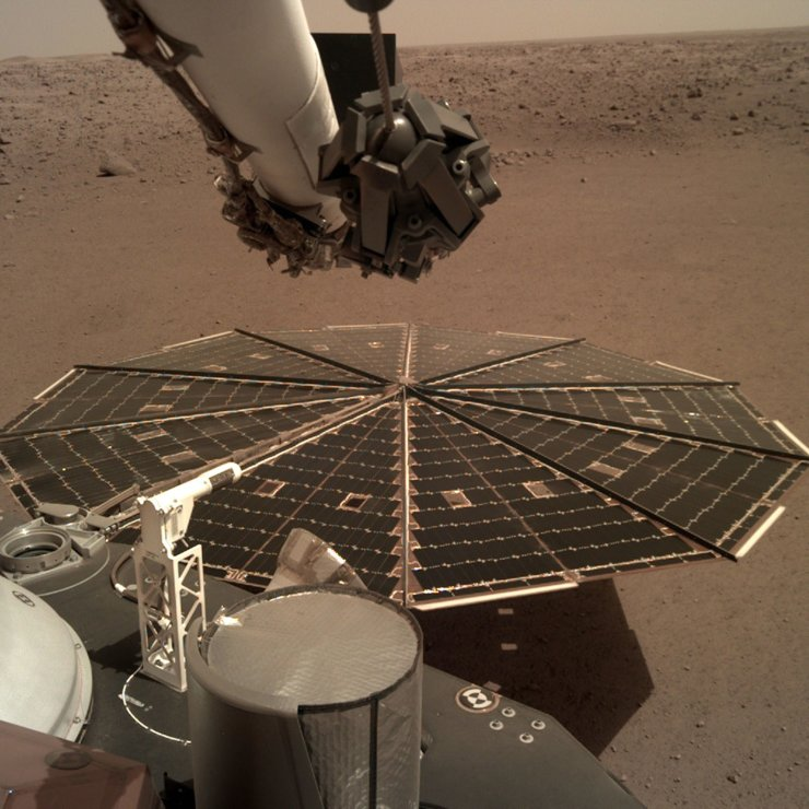 This Friday, Dec. 7, 2018 photo made available by NASA shows a view from the arm-mounted camera on the InSight Mars lander. The spacecraft arrived on the planet on Nov. 26. AP