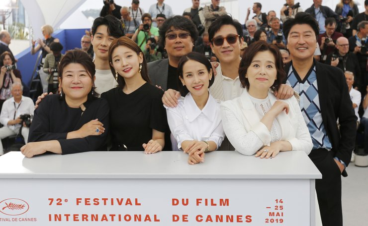South Korean actress Lee Jung-Eun, South Korean actor Choi Woo-Shik, South Korean actress Park So-Dam, South Korean director Bong Joon-ho, South Korean actress Cho Yeo-Jeong, South Korean actor Lee Sun-Kyun, South Korean actress Chang Hyae-Jin and South Korean actor Kang-Ho Song pose during the photocall for 'Parasite' at the 72nd annual Cannes Film Festival, in Cannes, France, 22 May 2019. The movie is presented in the Official Competition of the festival which runs from 14 to 25 May. EPA