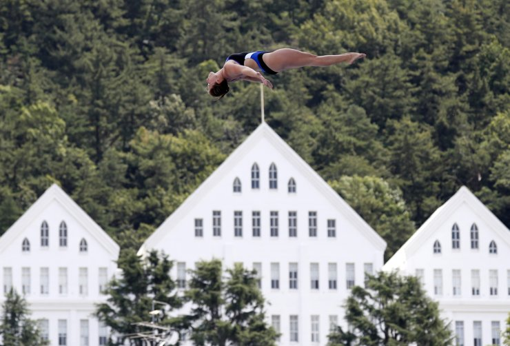 <span>United States' Genevieve Bradley competes in the third round of the women's high diving event during the 2019 World Championships at Chosun University in Gwangju on July 23, 2019. Reuters</span><br /><br />