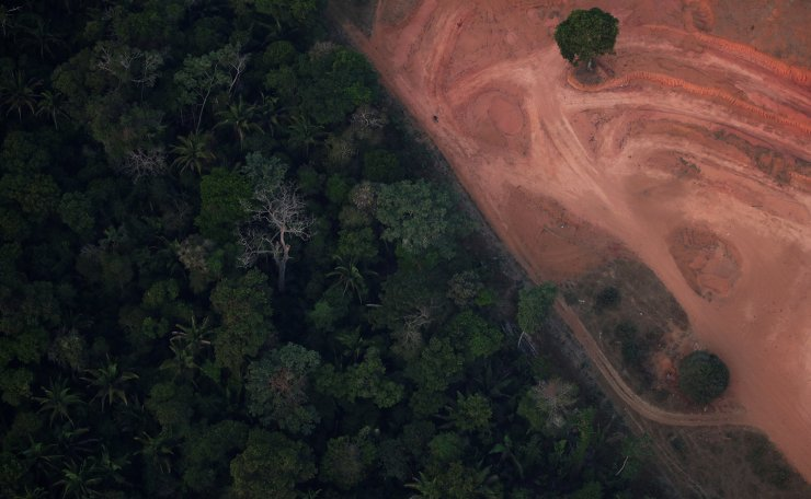 An aerial view shows a deforested plot of the Amazon near Porto Velho, Rondonia State, Brazil, Brazil August 21, 2019. Reuters