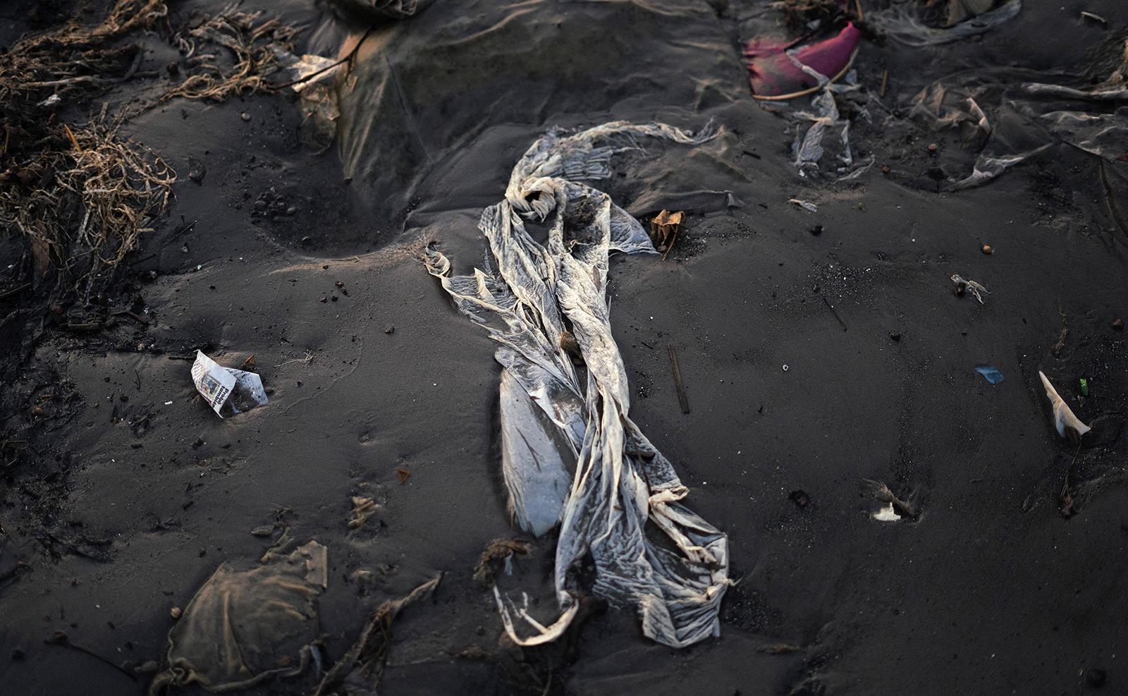 Plastic debris litters Capurro Beach in the bay of Montevideo, Uruguay, Monday, Dec. 2, 2019. AP