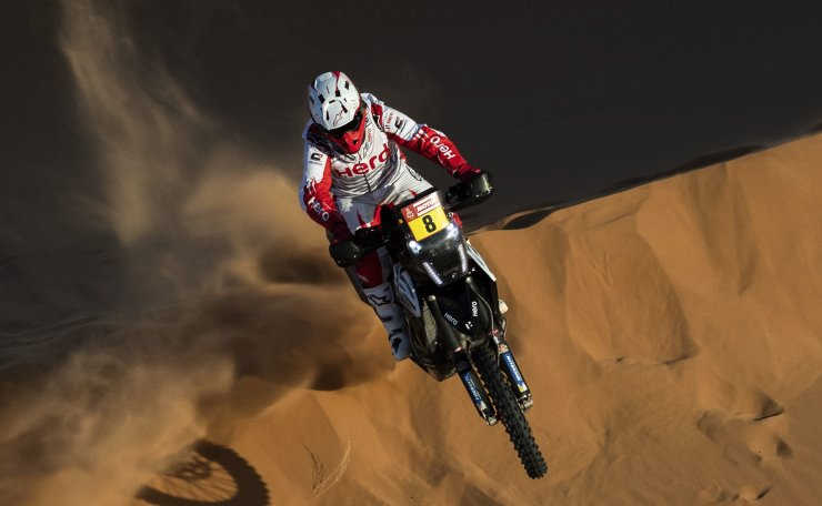 Paulo Gonçalves of Portugal rides his Hero motorbike during stage seven of the Dakar Rally between Riyadh and Wadi Al Dawasir, Saudi Arabia, Sunday, Jan. 12, 2020. Gonçalves, 40, died after an accident at kilometer 276. AP