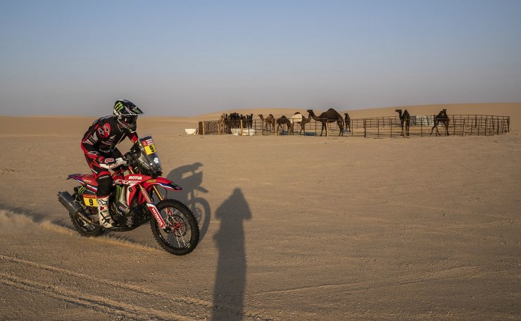 Ricky Brabec of United States rides his Honda motorbike during stage ten of the Dakar Rally between Haradth and Shubaytah, Saudi Arabia, Wednesday, Jan. 15, 2020. AP