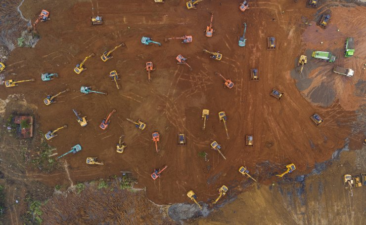 An aerial view of the construction site of a field hospital in Wuhan, Hubei province, China, 24 January 2020. The 1,000-bed hospital is expected to be completed by 03 February 2020 to cope with the increasing number of people affected by the coronavirus. EPA