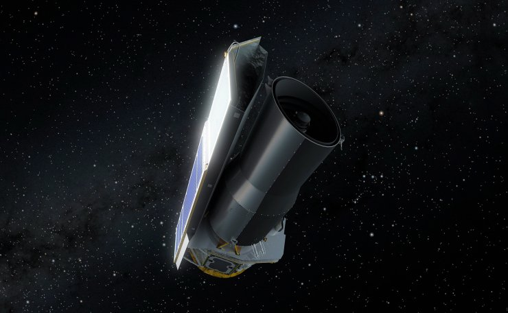 An undated handout photo made available by the National Aeronautics and Space Administration (NASA) shows an artist's rendering of NASA's Spitzer Space Telescope in space much as it would appear to an observer at the end of its mission on 30 January 2020 (issued 01 February 2020). NASA's Spitzer Space Telescope on 30 January 2020 transmitted its final science and engineering data to mission control and commanded off, ending its mission. Spitzer has spent over 16 years helping astronomers explore the infrared universe.  EPA/NASA/JPL-CALTECH HANDOUT