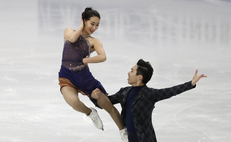 China's Chen Hong and Sun Zhuoming perform during the Ice Dance Rhythm Dance competition in the ISU Four Continents Figure Skating Championships in Seoul, South Korea, Thursday, Feb. 6, 2020. AP