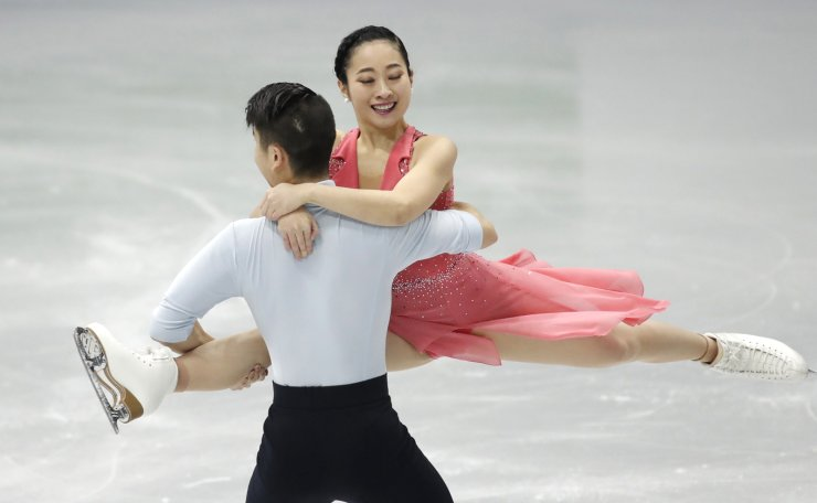 Japan's Rikako Fukase and Eichu Cho perform during the Ice Dance Rhythm Dance competition in the ISU Four Continents Figure Skating Championships in Seoul, South Korea, Thursday, Feb. 6, 2020. AP