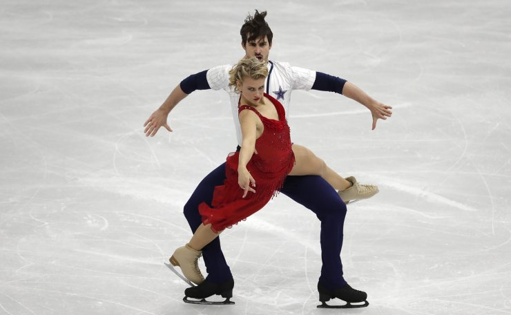 Unites States' Madison Hubbell and Zachary Donohue perform during the Ice Dance Rhythm Dance competition in the ISU Four Continents Figure Skating Championships in Seoul, South Korea, Thursday, Feb. 6, 2020. AP