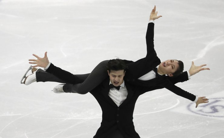 China's Wang Shiyue and Liu Xinyu perform during the Ice Dance Rhythm Dance competition in the ISU Four Continents Figure Skating Championships in Seoul, South Korea, Thursday, Feb. 6, 2020. AP