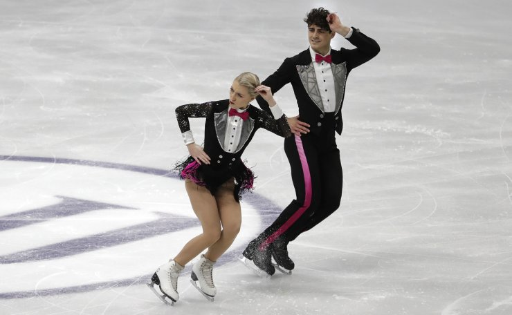 Canada's Piper Gilles and Paul Poirier perform during the Ice Dance Rhythm Dance competition in the ISU Four Continents Figure Skating Championships in Seoul, South Korea, Thursday, Feb. 6, 2020. AP