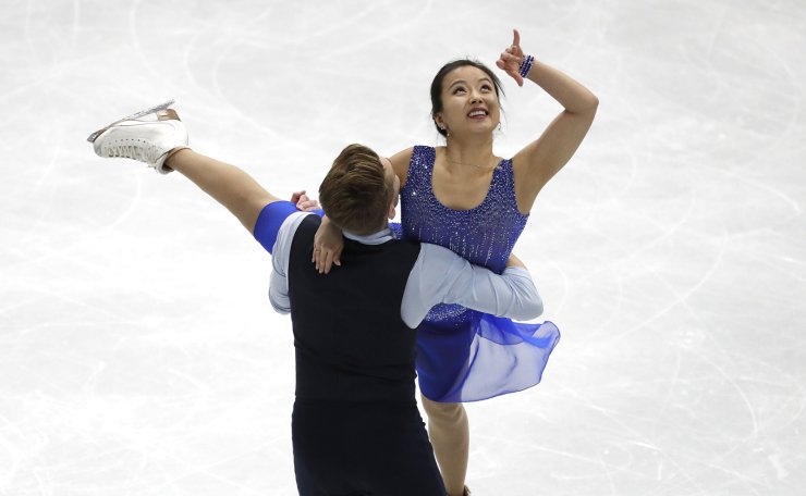 South Korea's Min Yura and Daniel Eaton perform during the Ice Dance Rhythm Dance competition in the ISU Four Continents Figure Skating Championships in Seoul, South Korea, Thursday, Feb. 6, 2020. AP
