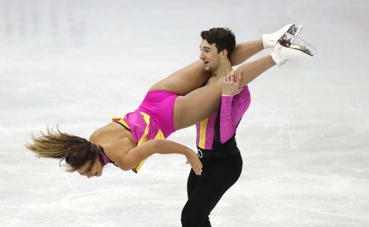 Australia's Matilda Friend and William Badaoui perform during the Ice Dance Rhythm Dance competition in the ISU Four Continents Figure Skating Championships in Seoul, South Korea, Thursday, Feb. 6, 2020. AP