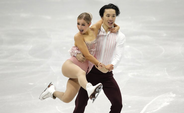 Australia's Holly Harris and Jason Chan perform during the Ice Dance Rhythm Dance competition in the ISU Four Continents Figure Skating Championships in Seoul, South Korea, Thursday, Feb. 6, 2020. AP