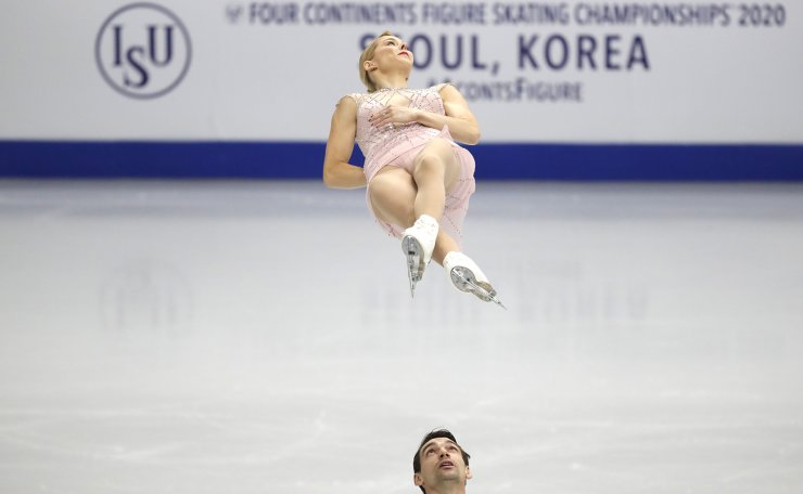 United States' Alexa Scimeca Knierim and Chris Knierim perform during the pair short program competition in the ISU Four Continents Figure Skating Championships in Seoul, South Korea, Thursday, Feb. 6, 2020. AP