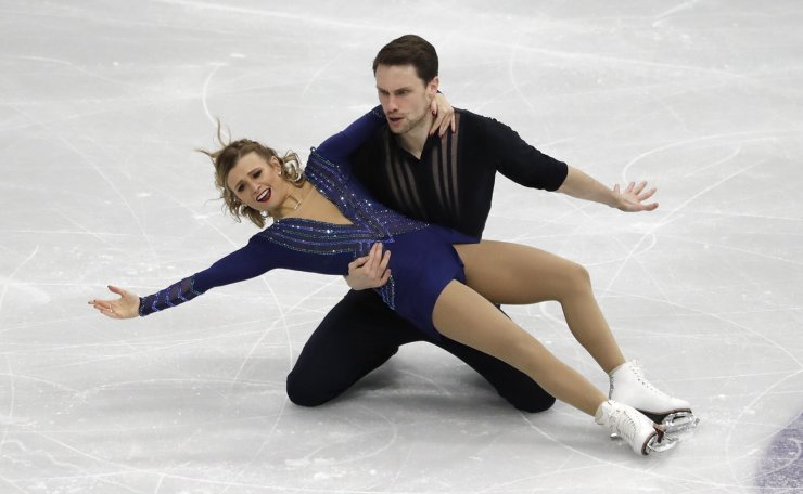 United States' Kirsten Moore-Towers and Michael Marinaro perform during the pair short program competition in the ISU Four Continents Figure Skating Championships in Seoul, South Korea, Thursday, Feb. 6, 2020. AP
