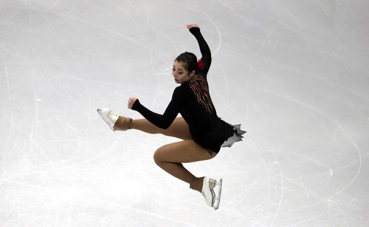 Aiza Mambekova of Kazakhstan performs during the ladies' single short program competition in the ISU Four Continents Figure Skating Championships in Seoul, South Korea, Thursday, Feb. 6, 2020. AP