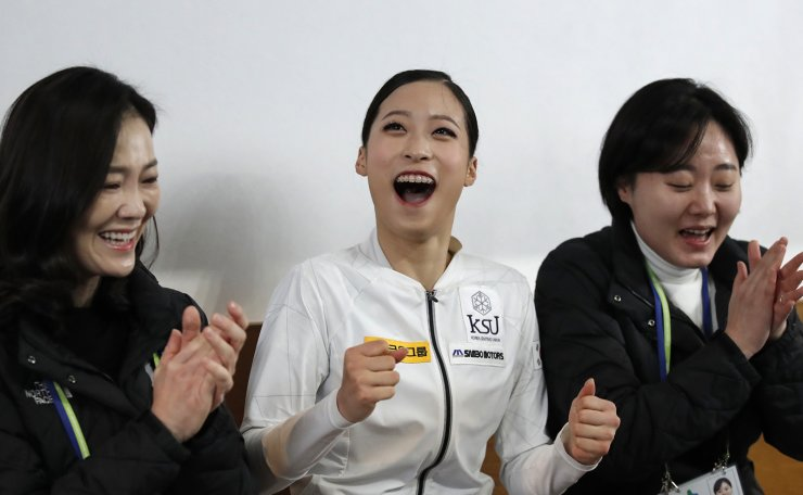 South Korea's You Young reacts to scoring after the ladies' single free skating competition in the ISU Four Continents Figure Skating Championships in Seoul, South Korea, Saturday, Feb. 8, 2020. AP