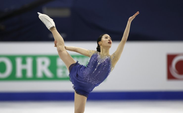 South Korea's You Young performs during the ladies' single free skating competition in the ISU Four Continents Figure Skating Championships in Seoul, South Korea, Saturday, Feb. 8, 2020. AP