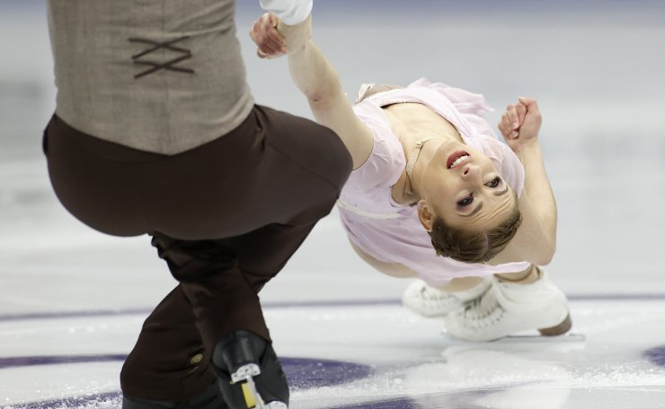 United States' Tarah Kayne and Danny O'Shea perform during the pairs free skating competition in the ISU Four Continents Figure Skating Championships in Seoul, South Korea, Saturday, Feb. 8, 2020. AP