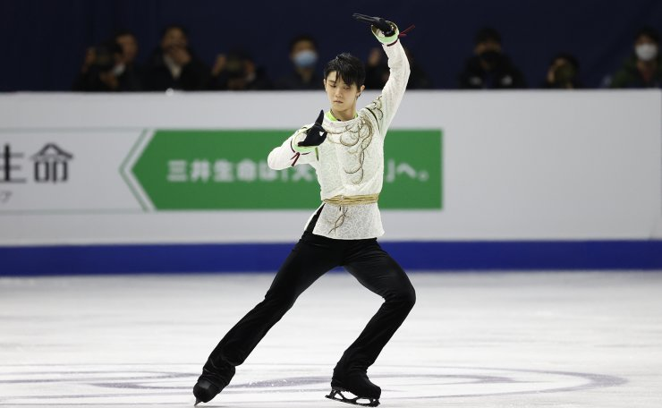 Gold medalist Japan's Yuzuru Hanyu performs during the men's single free skating competition in the ISU Four Continents Figure Skating Championships in Seoul, South Korea, Sunday, Feb. 9, 2020. AP