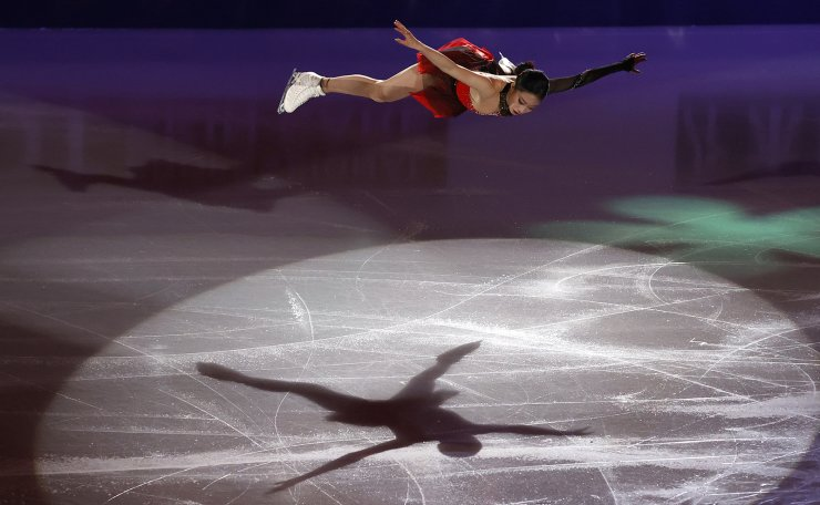 South Korea's You Young performs during the gala exhibition in the ISU Four Continents Figure Skating Championships in Seoul, South Korea, Sunday, Feb. 9, 2020. AP