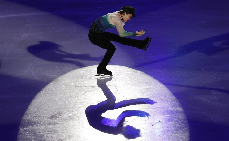 Japan's Yuzuru Hanyu performs during the gala exhibition in the ISU Four Continents Figure Skating Championships in Seoul, South Korea, Sunday, Feb. 9, 2020. AP