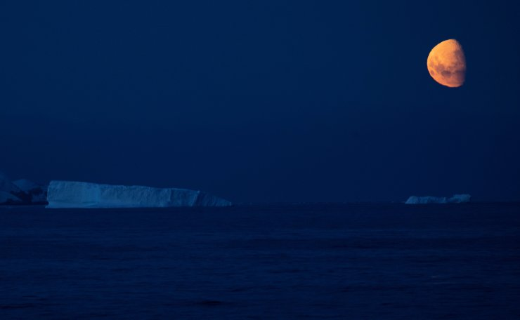 The moon shines over icebergs near Fournier Bay, Antarctica, February 3, 2020. Reuters