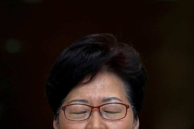 Hong Kong's Chief Executive Carrie Lam pauses while holding a news conference in Hong Kong, China, August 27, 2019. On September 4, Lam announced the formal withdrawal of the extradition bill. REUTERS