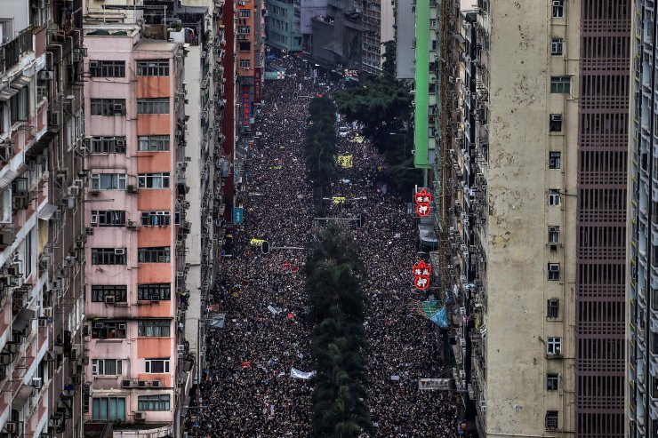 Hundreds of thousands protesters march through the streets of Hong Kong, China, demanding for it's leaders to step down and withdraw the proposed extradition bill on June 16, 2019. REUTERS