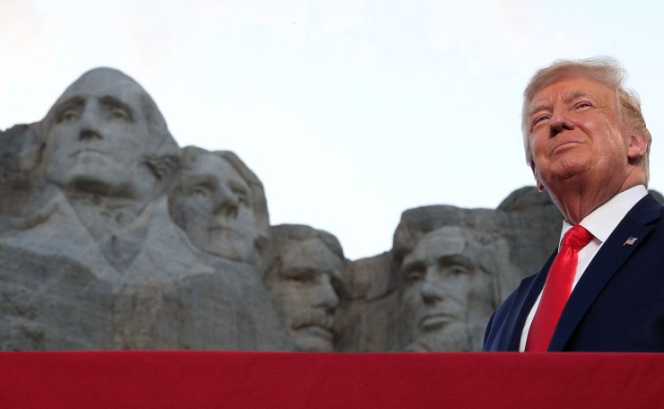 U.S. President Donald Trump is seen in front of Mt. Rushmore as he attends South Dakota's U.S. Independence Day Mount Rushmore fireworks celebrations in Keystone, South Dakota, U.S., July 3, 2020. Reuters