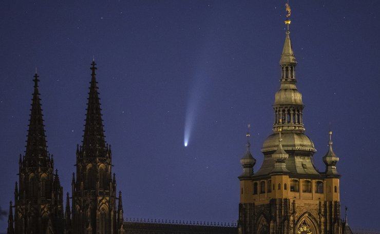 The Comet NEOWISE or C/2020 F3 is seen above Prague Castle with St. Vitus Cathedral, in Prague, Czech Republic, 13 July 2020. The comet passed closest to the Sun on 03 July and its closest approach to Earth will occur on 23 July. EPA